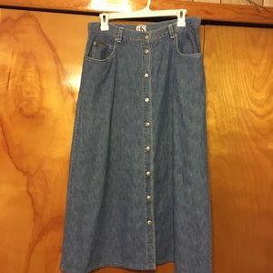 90s Calvin Klein Button Down Denim Midi Skirt